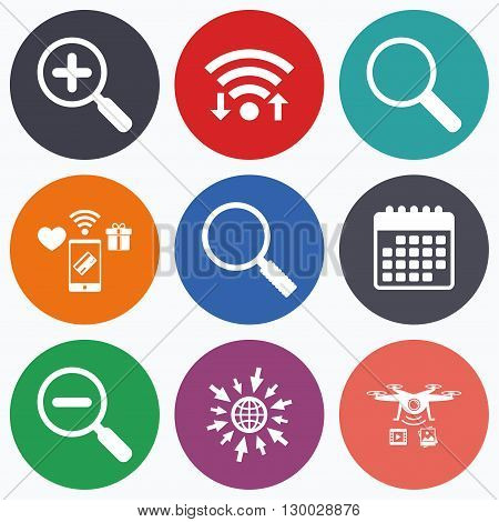 Wifi, mobile payments and drones icons. Magnifier glass icons. Plus and minus zoom tool symbols. Search information signs. Calendar symbol.