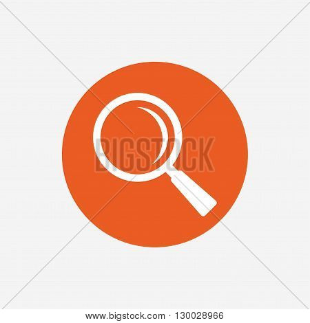 Magnifier glass sign icon. Zoom tool button. Navigation search symbol. Orange circle button with icon. Vector