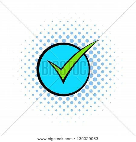 Green tick, check mark icon in comics style on a white background