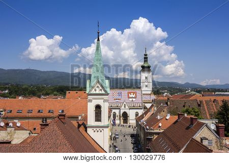 Church of St Mark famous building monuments in Zagreb Croatia