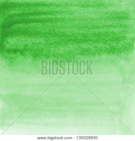 Hand drawn watercolor gradient wash. Colorful pained background. Square background in light green. Nature eco design element.