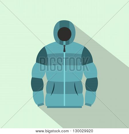 Blue hoodie icon in flat style on a light blue background