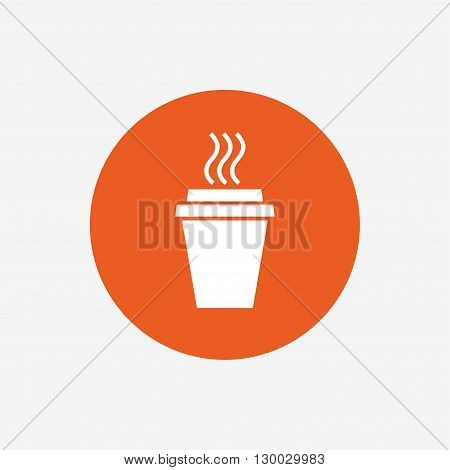 Take a Coffee sign icon. Hot Coffee cup. Orange circle button with icon. Vector