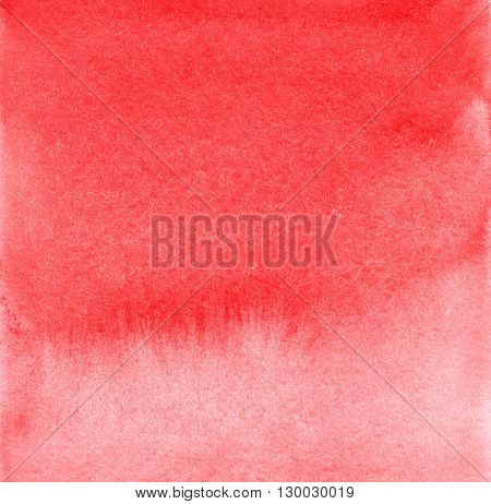 Hand drawn watercolor gradient wash. Colorful pained background. Square background in bright red. Artistic design element.
