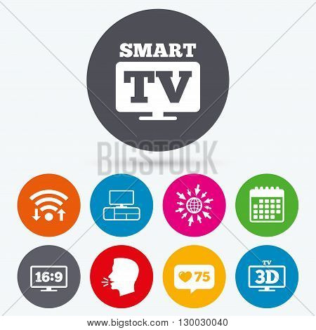 Wifi, like counter and calendar icons. Smart TV mode icon. Aspect ratio 16:9 widescreen symbol. 3D Television and TV table signs. Human talk, go to web.