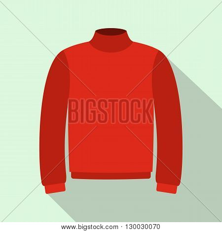 Red warm sweater icon in flat style on a light blue background