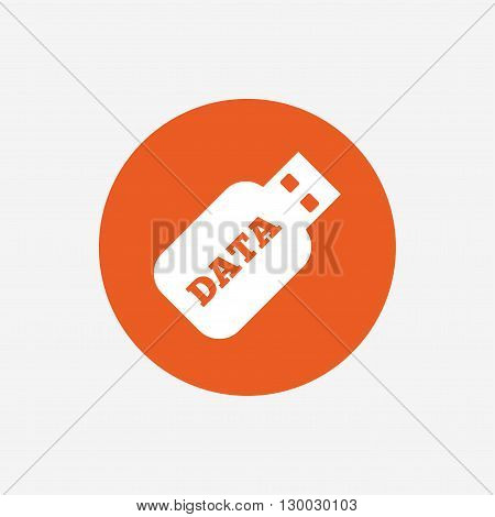 Usb Stick sign icon. Usb flash drive button. Orange circle button with icon. Vector