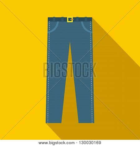 Trousers with belt icon in flat style on a yellow background