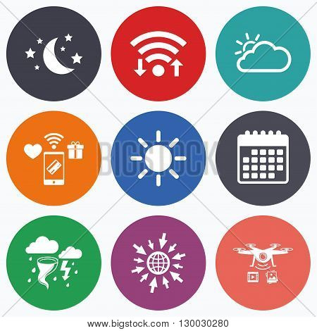 Wifi, mobile payments and drones icons. Weather icons. Moon and stars night. Cloud and sun signs. Storm or thunderstorm with lightning symbol. Calendar symbol.