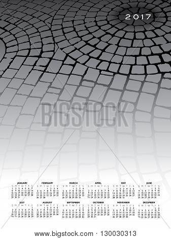 A 2017 cobblestone calendar for print or web use