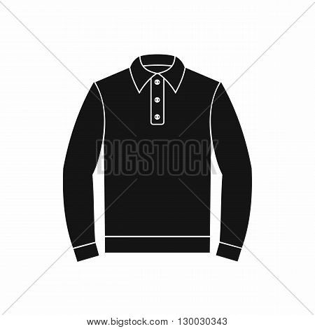 Long sleeve polo shirt icon in simple style on a white background