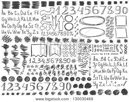 Pencil doodles effect set. Doodle alphabet. Simple doodling collection. Doodle numbers. Drawn symbols numbers arrows and frames set. Vector illustration. School doodling. Line art signs and symbols.