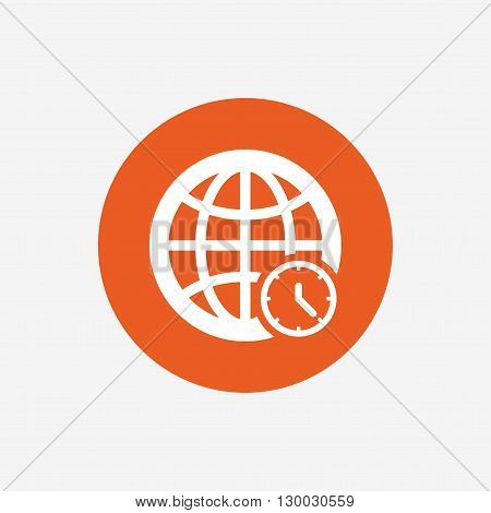 World time sign icon. Universal time globe symbol. Orange circle button with icon. Vector