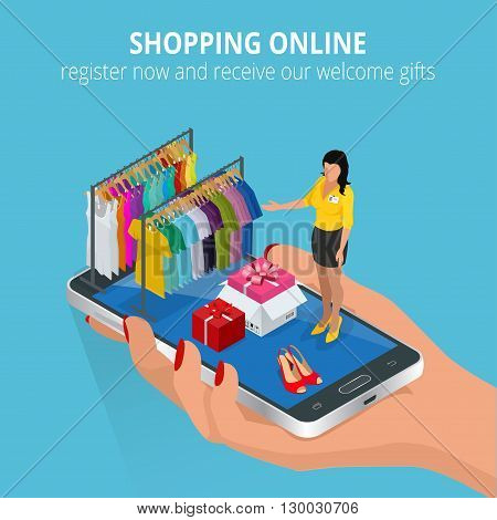 Shopping online. Mobile store. Flat illustration for web and mobile phone services and apps. Flat 3d vector isometric illustration