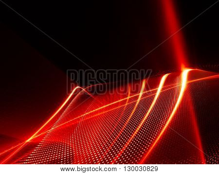Abstract background element. Fractal graphics series. Three-dimensional composition of glowing lines and halftone effects. Information and energy concept. Red and black colors.