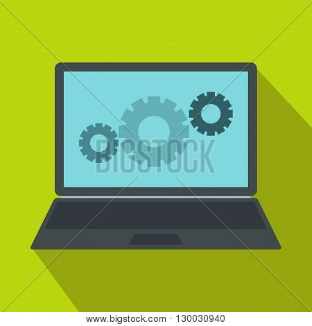 Laptop with gears icon in flat style on a green background