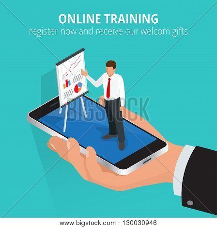 Education concept online training. Flat design concepts for online education, online training courses, staff training, retraining, specialization, university, tutorials