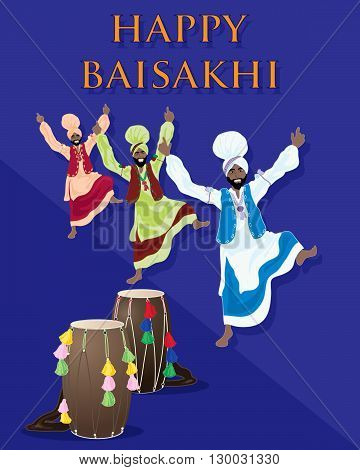an illustration of a punjabi celebration greeting card with drums and dancers on a purple background