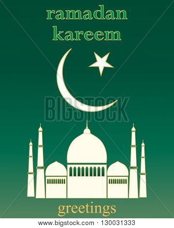 an illustration of a ramadan greeting card with white mosque and islamic symbol on a dark green background