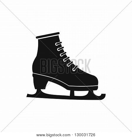 Figured skate icon in black simple style isolated on white background