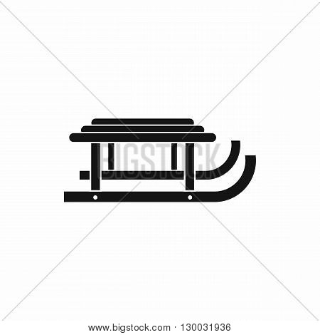 Sleigh icon in black simple style isolated on white background