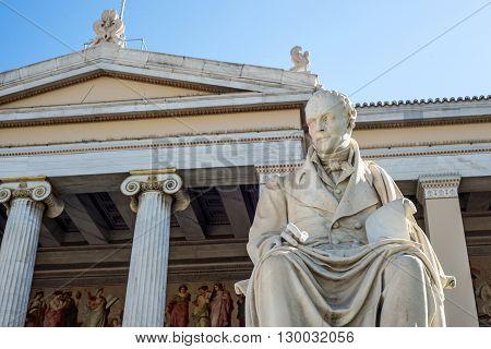 statue of Greek philosopher Adamantios Korais in Athens