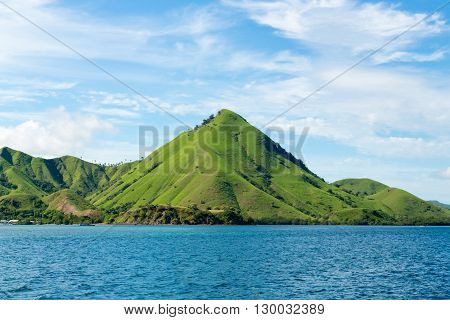 beautiful green mountains of the island of Komodo in Indonesia