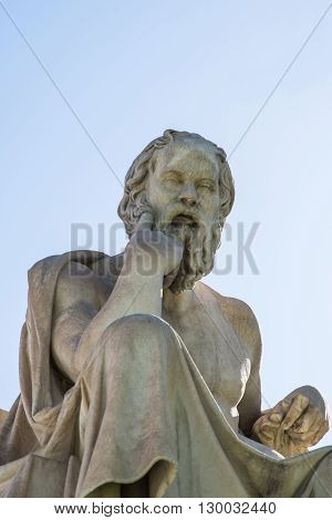 statue of ancient Greek philosopher Socrates in Athens