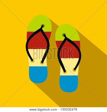 Summer slippers for beach icon in flat style with long shadow. Summer and heat symbol