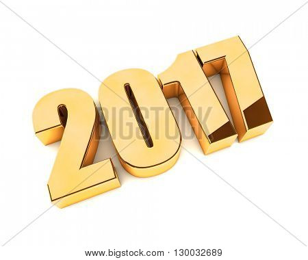 New 2017 year golden 3D figures isolated on white background. 3D rendering.