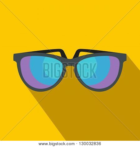 Sunglasses icon in flat style with long shadow. Summer and heat symbol