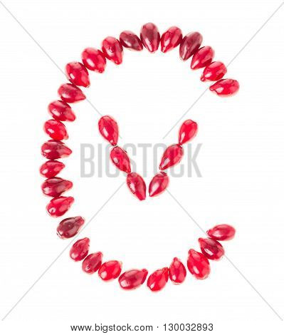 Ripe red dogwood berries in form of letter C and V as a vitamin C. Isolated on a white background.