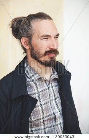 Young Bearded Long Haired Asian Man