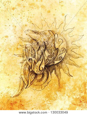 Drawing Of Ornamental Dragon And Sun On Old Paper Background  And Sepia Color Structure.