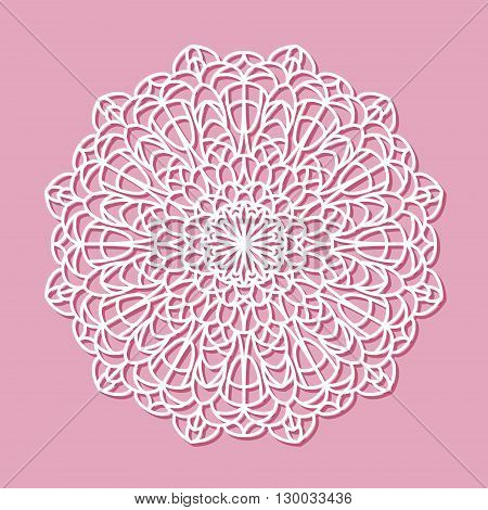 Beautiful mandala lace ornament on pink background for cards or invitations. Mandala round element. Vector illustration