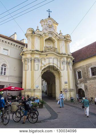 Vilnius Lithuania - August 16 2013. Gate Basilian monastery in the Old Town in Vilnius