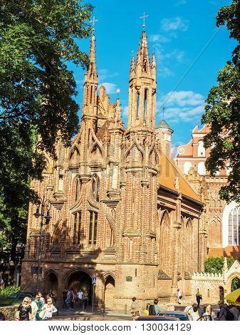 Vilnius Lithuania - August 16 2013. St. Anne's church in Vilnius old town Lithuania
