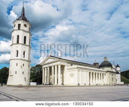 Vilnius Lithuania - August 16 2013. Cathedral of St. Stanislaus and the bell tower in the center of Vilnius