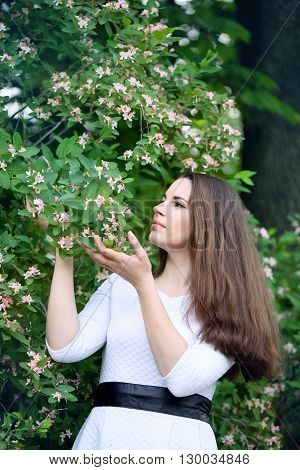 Beautiful woman in a spring garden with blooming honeysuckle