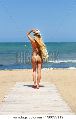 Beautiful young woman in sexy bikini at the beach. Summer holiday concept