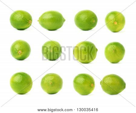 Set of multiple single ripe limes in different compositions and foreshortenings, isolated over the white background