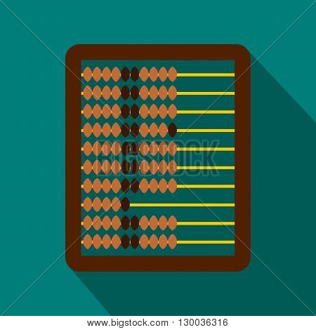 Abacus icon in flat style on a blue background