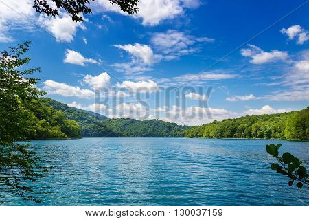 Summer landscape. Plitvice lakes. National park. Croatia.