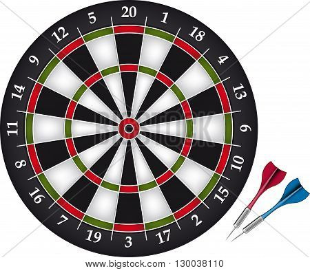 Dartboard game with two darts. vector illustration