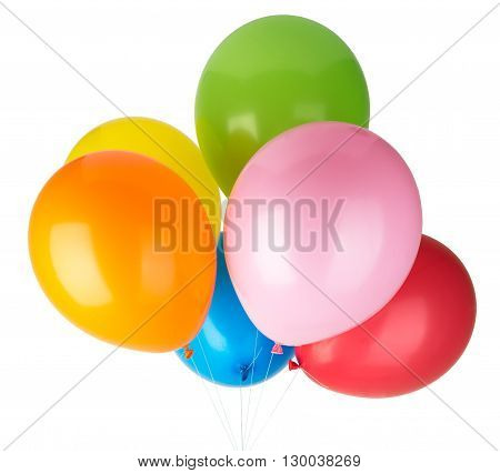 Childrens party colorful balloons isolated on white background