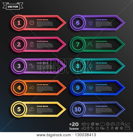 Vector Infographic Design List With Colorful Circles.