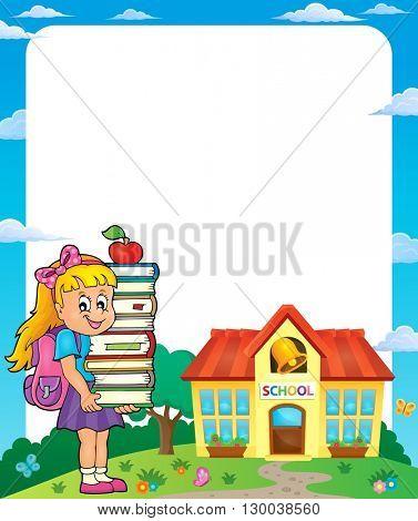Frame with school girl 3 - eps10 vector illustration.