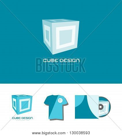 Vector company logo icon element template cube 3d games media corporate