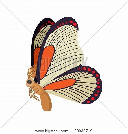 Light orange butterfly with red spots on wings icon in cartoon style isolated on white background