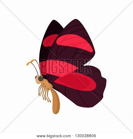Burgundy butterfly icon with red stripes on wings in cartoon style isolated on white background
